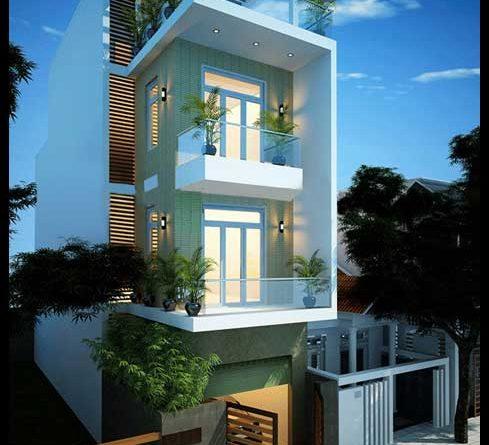 mẫu thiết kế nhà phố 4 tầng phong cách hiện đại 5x18m đẹp